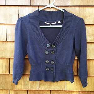Anthropologie Knitted & Knotted Navy Cardigan S